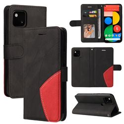 Luxury Two-color Stitching Leather Wallet Case Cover for Google Pixel 5 - Black