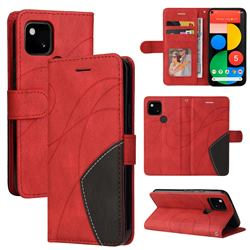 Luxury Two-color Stitching Leather Wallet Case Cover for Google Pixel 5 - Red