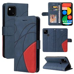 Luxury Two-color Stitching Leather Wallet Case Cover for Google Pixel 5 - Blue