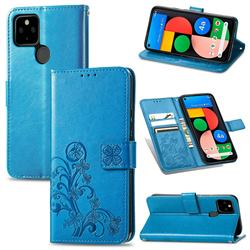 Embossing Imprint Four-Leaf Clover Leather Wallet Case for Google Pixel 5A - Blue