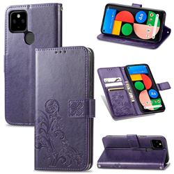Embossing Imprint Four-Leaf Clover Leather Wallet Case for Google Pixel 5A - Purple