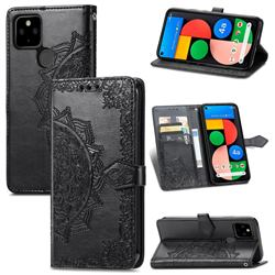 Embossing Imprint Mandala Flower Leather Wallet Case for Google Pixel 5A - Black