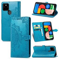 Embossing Imprint Mandala Flower Leather Wallet Case for Google Pixel 5A - Blue