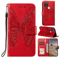 Intricate Embossing Vivid Butterfly Leather Wallet Case for Google Pixel 5 XL - Red
