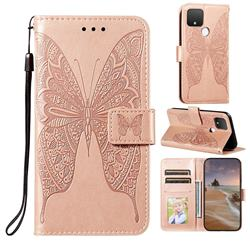 Intricate Embossing Vivid Butterfly Leather Wallet Case for Google Pixel 5 XL - Rose Gold