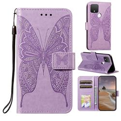 Intricate Embossing Vivid Butterfly Leather Wallet Case for Google Pixel 5 XL - Purple