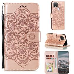 Intricate Embossing Datura Solar Leather Wallet Case for Google Pixel 5 XL - Rose Gold