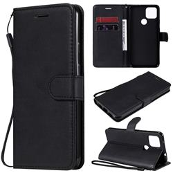 Retro Greek Classic Smooth PU Leather Wallet Phone Case for Google Pixel 5 XL - Black