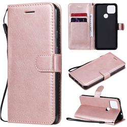 Retro Greek Classic Smooth PU Leather Wallet Phone Case for Google Pixel 5 XL - Rose Gold