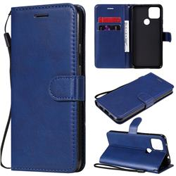 Retro Greek Classic Smooth PU Leather Wallet Phone Case for Google Pixel 5 XL - Blue