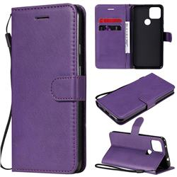 Retro Greek Classic Smooth PU Leather Wallet Phone Case for Google Pixel 5 XL - Purple