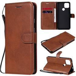 Retro Greek Classic Smooth PU Leather Wallet Phone Case for Google Pixel 5 XL - Brown