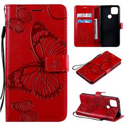 Embossing 3D Butterfly Leather Wallet Case for Google Pixel 5 XL - Red