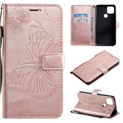 Embossing 3D Butterfly Leather Wallet Case for Google Pixel 5 XL - Rose Gold