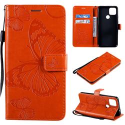 Embossing 3D Butterfly Leather Wallet Case for Google Pixel 5 XL - Orange