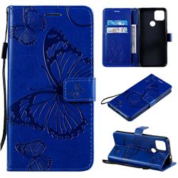Embossing 3D Butterfly Leather Wallet Case for Google Pixel 5 XL - Blue
