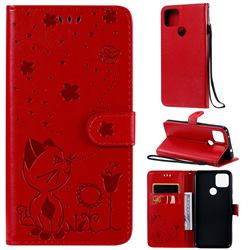 Embossing Bee and Cat Leather Wallet Case for Google Pixel 5 XL - Red