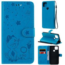 Embossing Bee and Cat Leather Wallet Case for Google Pixel 5 XL - Blue