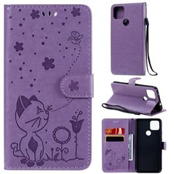 Embossing Bee and Cat Leather Wallet Case for Google Pixel 5 XL - Purple