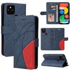 Luxury Two-color Stitching Leather Wallet Case Cover for Google Pixel 5 XL - Blue