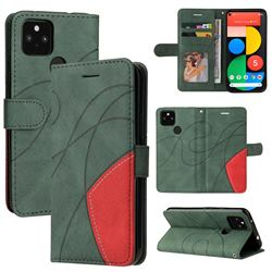 Luxury Two-color Stitching Leather Wallet Case Cover for Google Pixel 5 XL - Green