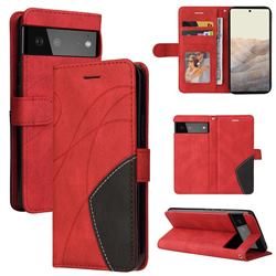 Luxury Two-color Stitching Leather Wallet Case Cover for Google Pixel 6 - Red