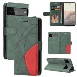 Luxury Two-color Stitching Leather Wallet Case Cover for Google Pixel 6 - Green