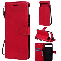 Retro Greek Classic Smooth PU Leather Wallet Phone Case for Google Pixel 6 - Red