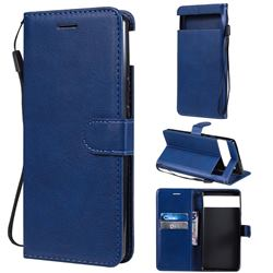 Retro Greek Classic Smooth PU Leather Wallet Phone Case for Google Pixel 6 - Blue