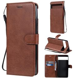 Retro Greek Classic Smooth PU Leather Wallet Phone Case for Google Pixel 6 - Brown