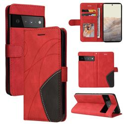 Luxury Two-color Stitching Leather Wallet Case Cover for Google Pixel 6 Pro - Red