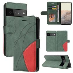 Luxury Two-color Stitching Leather Wallet Case Cover for Google Pixel 6 Pro - Green