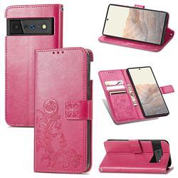 Embossing Imprint Four-Leaf Clover Leather Wallet Case for Google Pixel 6 Pro - Rose Red