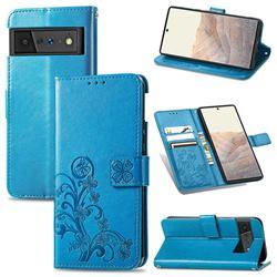 Embossing Imprint Four-Leaf Clover Leather Wallet Case for Google Pixel 6 Pro - Blue