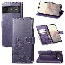 Embossing Imprint Four-Leaf Clover Leather Wallet Case for Google Pixel 6 Pro - Purple