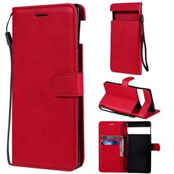Retro Greek Classic Smooth PU Leather Wallet Phone Case for Google Pixel 6 Pro - Red