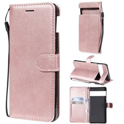 Retro Greek Classic Smooth PU Leather Wallet Phone Case for Google Pixel 6 Pro - Rose Gold