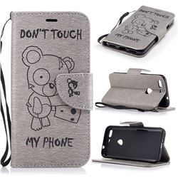 Intricate Embossing Chainsaw Bear Leather Wallet Case for Google Pixel XL - Gray