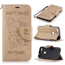 Intricate Embossing Chainsaw Bear Leather Wallet Case for Google Pixel XL - Golden