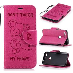 Intricate Embossing Chainsaw Bear Leather Wallet Case for Google Pixel XL - Rose