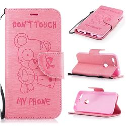 Intricate Embossing Chainsaw Bear Leather Wallet Case for Google Pixel XL - Pink