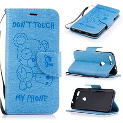 Intricate Embossing Chainsaw Bear Leather Wallet Case for Google Pixel XL - Light Blue