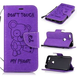 Intricate Embossing Chainsaw Bear Leather Wallet Case for Google Pixel XL - Purple