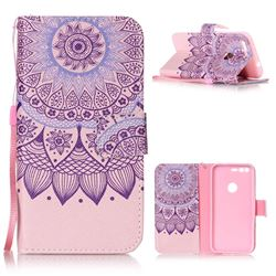Purple Sunflower Leather Wallet Phone Case for Google Pixel XL