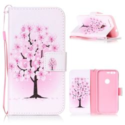 Peach Flower Leather Wallet Phone Case for Google Pixel XL