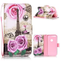 Rose Eiffel Tower Leather Wallet Phone Case for Google Pixel XL