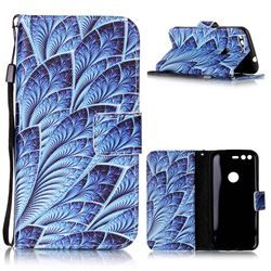 Blue Feather Leather Wallet Phone Case for Google Pixel XL