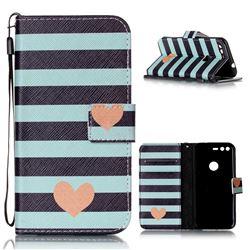 Blue Stripe Heart Leather Wallet Phone Case for Google Pixel XL