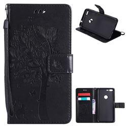 Embossing Butterfly Tree Leather Wallet Case for Google Pixel XL - Black