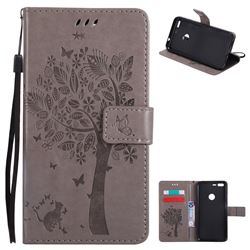 Embossing Butterfly Tree Leather Wallet Case for Google Pixel XL - Grey